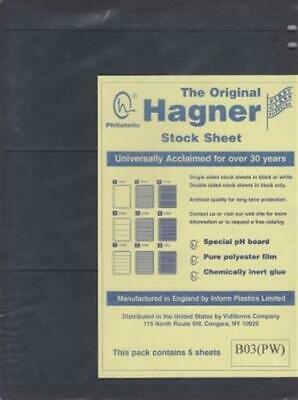 Stamp Album Stock Sheets Single Side 5 Pages 3 Rows Black Polyester Film Hagner
