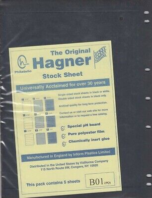 Stamp Album Stock Sheets Single Side 5 Pages 1 Row Black Polyester Film Hagner