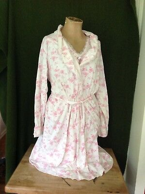6c32a2b49c8e8 Motherhood Maternity Nursing Nightgown and Robe Set of 2 100% Cotton Size  Large