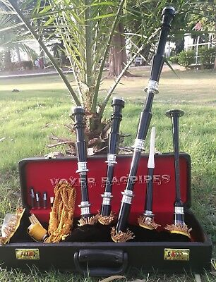 Great Highland Rosewood Bagpipe Full Silver Amounts With Hard Case