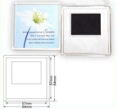 50 Blank Clear Acrylic Magnets 57x57mm Photo Insert DIY Wholesale Craft 99809