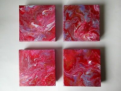 Set of four canvas original abstract pour acrylic painting 6 x 6 x 1.5