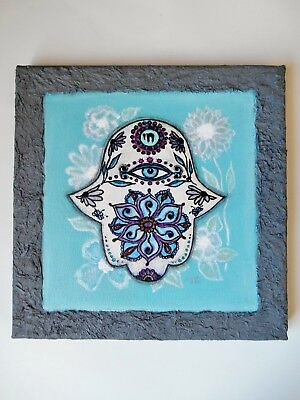 "Original Hamsa Hand Modern Mixed media painting on canvas 8"" x 8"" Canadian Art"