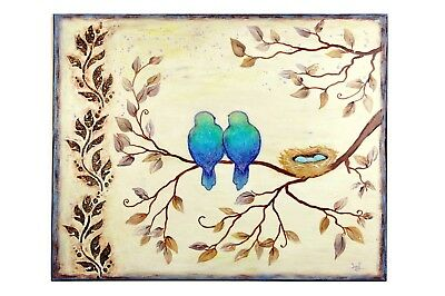 "Original Love Birds Nest Painting on stretched canvas 16"" x 20"" Canadian Art"