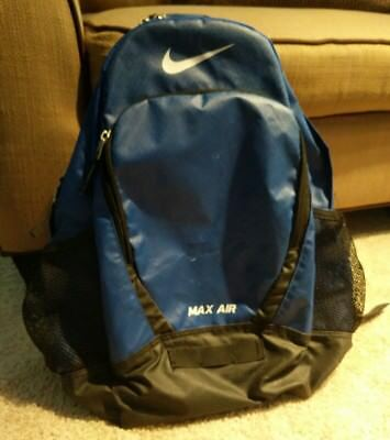Nike Team Max Air Large Backpack Laptop Blue Black 18 x 13 x 10 Vintage  Style 3753fbfdfded2
