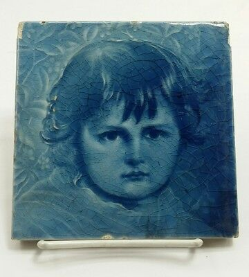 Antique A.E American Encaustic Tile Child Portrait Blue 6x6 Zanesville Ohio