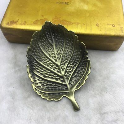 Chinese old copper brass hand engraving leaf model writing-brush washer b02