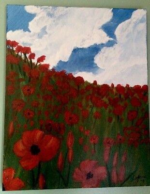 RED POPPIES BLUE SKY Acrylic Canvas Art Signed By Painter 16 X 20 Stretched Canv
