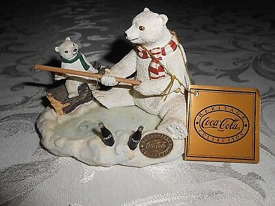 """Coca Cola Heritage Collection,  """"Gone Fishing"""" Bears fishing   [In original box]"""