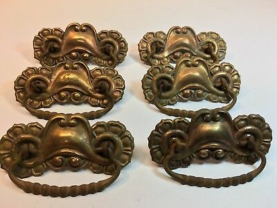 6 Ornate Antique Pressed Brass Victorian DRAWER PULLS steampunk Nice