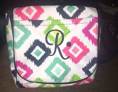 """Thirty-One Going Places Thermal In Candy Corners With Navy Blue """"R"""" On The Front"""