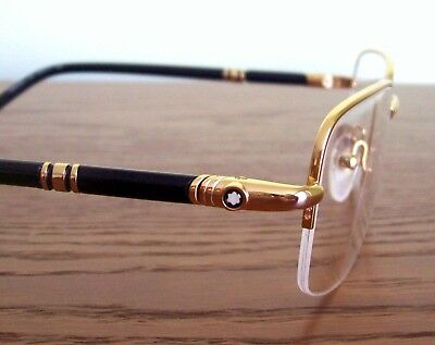 acd86b92f3d New Mont Blanc MB528U Eyeglass Half Rim Frame GOLD Black Authentic LARGE  145mm