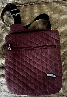 TRAVELON Brown Quilted Nylon Crossbody Travel Sling Backpack Organizer