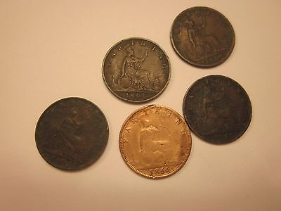 COINS BRITISH ANTIQUES 1860's SET OF 5  SOUVENIRS COLLECTIBLES #91