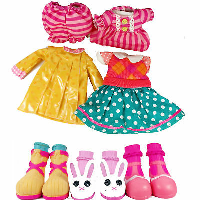 """3 sets Outfit Clothes Dress Pajamas Raincoat Shoes for 12"""" LALALOOPSY DOLL toy"""