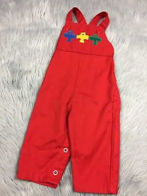 Vintage Healthtex Baby Boys Red Airplane Pants Romper Overalls