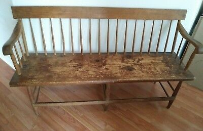 Antique Deacon's Bench Handmade spindle back mid-century 1800-1900