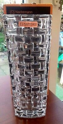 "STUNNING NEW AND BOXED HEAVY BOSSA NOVA NACHTMANN CRYSTAL VASE 11"" tall"