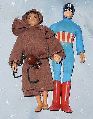 Vintage 1970s Mego Captain America & Friar Tuck Dolls in Original Clothes