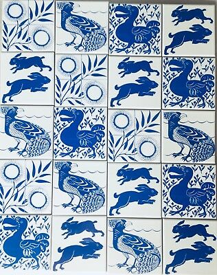 20 William de Morgan assorted feature tiles,wall tiles,mosaic,blue on white