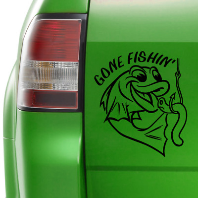 Gone Fishing Sticker Vinyl Car Boat Decal 240mm x 210mm