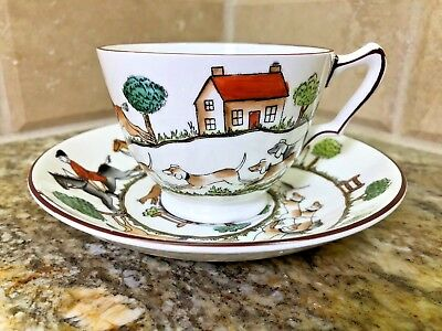 Crown Staffordshire HUNTING SCENE - CUP AND SAUCER - Fine Bone China England