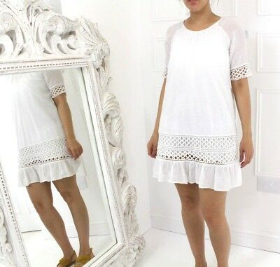Vila Indian Gauze Vtg style White Cotton Lace Smock Summer Sun Mini Dress 12 M