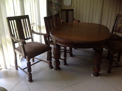 antique dining suite 1920,s silky oak includes matching buffet