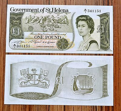 ST.HELENA Saint Helena 1 Pound 1981 P 9 UNC BANKNOTE CURRENCY  QEII PAPER MONEY