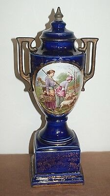 Royal Warwick Urn. Blue with Gold highlights