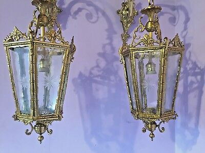 Antique Pair Of Two Sconces (Wall Lamps) In Lantern Style.