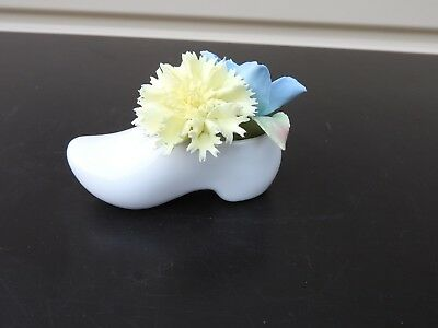 vintage Miniature Porcelain Coalport Bone China Flowers in a Clog Figurine