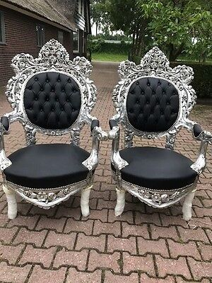 Antique Pair (2) Of Rococo Style Chairs