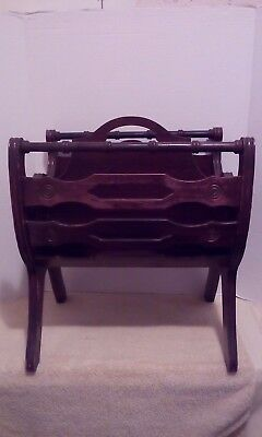 Antique Cherry Wood Magazine And Newspaper Rack