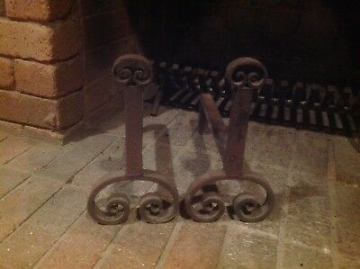 fire dogs - pair of old heavy  iron fire dogs for your open fireplace