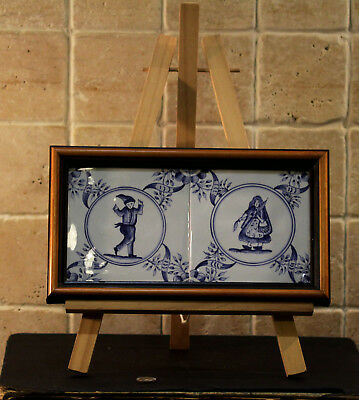 Vintage Collectible Handpainted Blue White Wall Tile