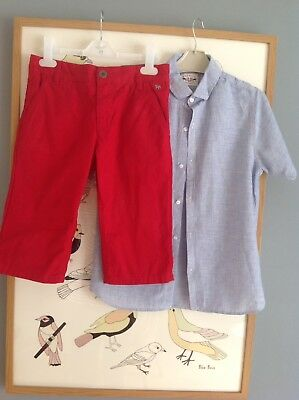 Boys Jasper Conran Red Shorts And Next Linen Blend Shirt  Outfit Age 10 Yrs