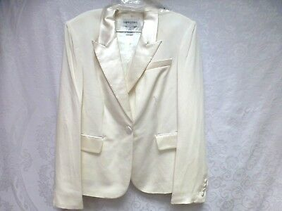 Womens Bloomingdale's Tuxedo Formal Suit Jacket Blazer Satin Lapels Ivory 16 NWT