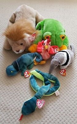 Ty Beanie Baby And Buddie Bundle Leo Smoochy Strut Ants Hissy Rainbow with Tags