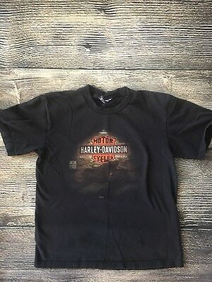 Boys Harley Davidson Motorcycles T-Shirt Nebraska Black Short Sleeve Size 10-12