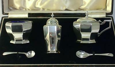 Cased Vintage Sterling Silver Cruet Set (Mustard/Pepper Pots & Salt Cellar)–1934