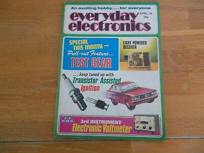 Everyday Electronics Magazine April '74 Electronic Voltmeter Transistor Ignitio