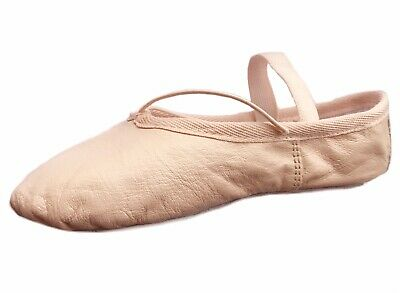 Ballet Shoes, Dance Slippers Gym Shoes,Full Sole, Pink Leather Child Adult Sizes