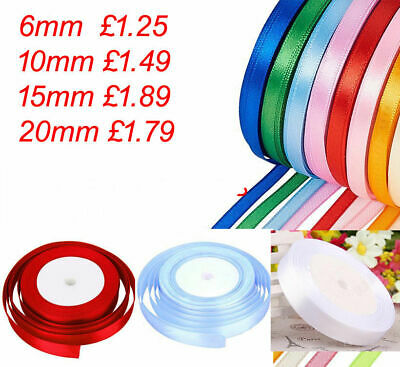 22 Metre  Roll Of Satin Ribbon 6Mm 10Mm,15Mm Wedding, Christmas. Double, Organza