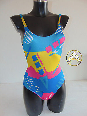 Vintage 80 SPEEDO Costume Intero XS 4 Mare Piscina Bambina Swimsuit 90 Britain