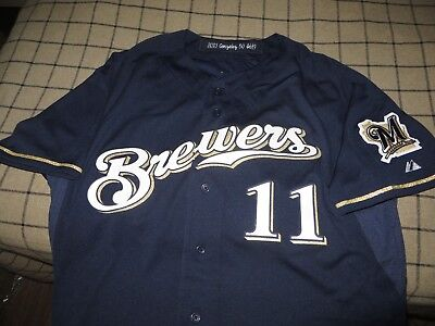 793a1783291 Alex Gonzalez 2013 Milwaukee Brewers Game Worn Blue Alt Jersey