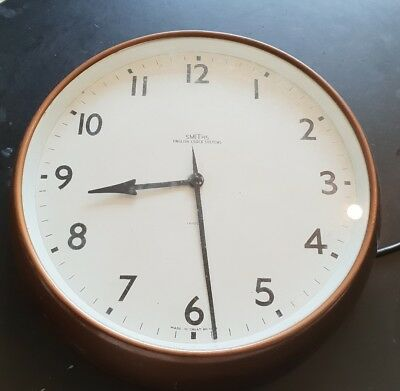 SMITHS COPPER WALL CLOCK - original station factory electric