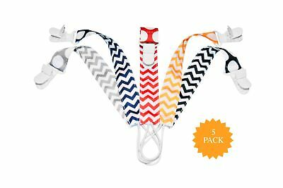 Pacifier Clip - 5 Pack | Unisex | 2-Sided Design | Best Universal Pacifier Ho...