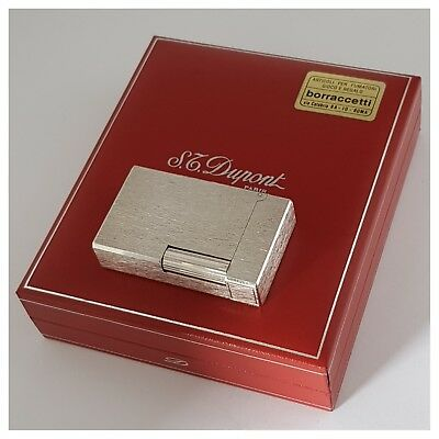 Briquet gaz* St Dupont Paris + box * Satin Silver.P-Lighter-Feuerzeug-Accendino