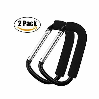 2 Pack Large Size Stroller Hooks Aluminium Alloy Strong Buggy Clip Travel Org...
